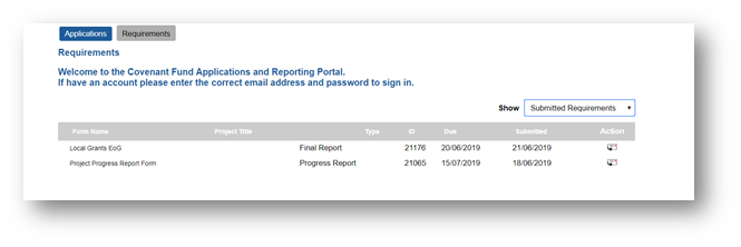 A screenshot of the application and reporting panel