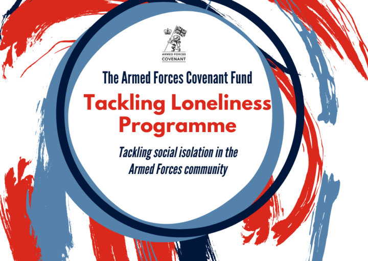Tackling Loneliness Programme: Programme name on an abstract background featuring red and blue colours: