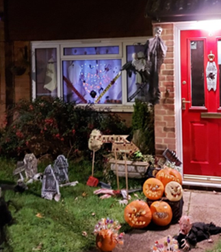A halloween display at a home taking part in RAF Wyton's community project